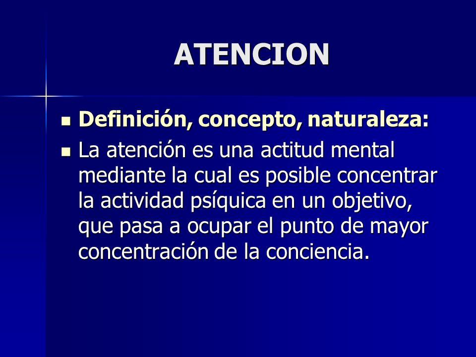 ATENCION Definición, concepto, naturaleza: