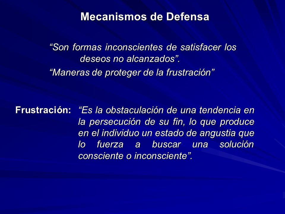 Mecanismos de Defensa Son formas inconscientes de satisfacer los deseos no alcanzados . Maneras de proteger de la frustración