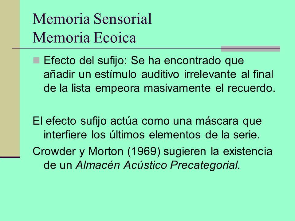 Memoria Sensorial Memoria Ecoica