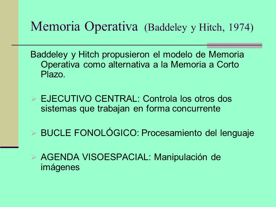 Memoria Operativa (Baddeley y Hitch, 1974)