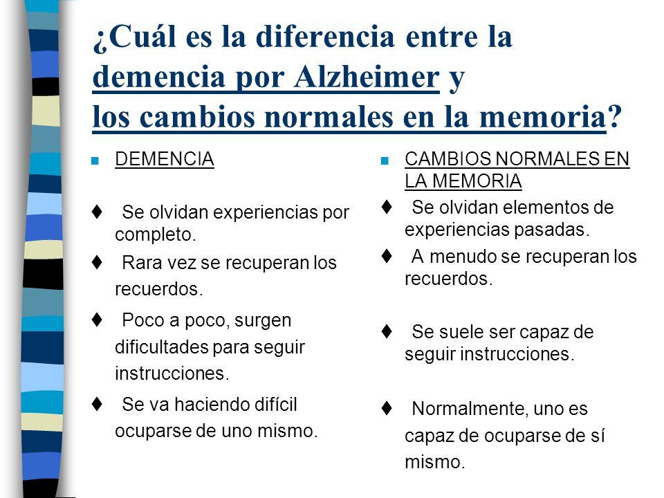 ¿Cuál es la diferencia entre la demencia por Alzheimer y los cambios normales en la memoria