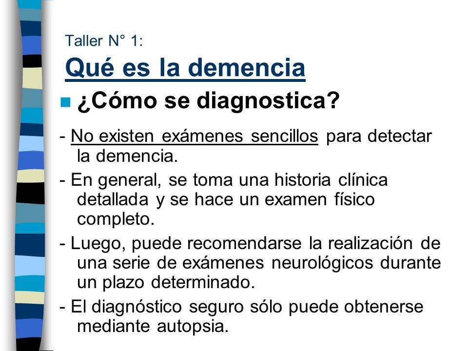 Taller N° 1: Qué es la demencia