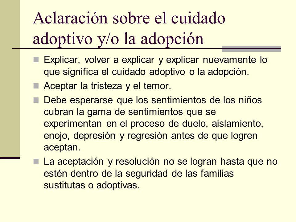 Aclaración sobre el cuidado adoptivo y/o la adopción
