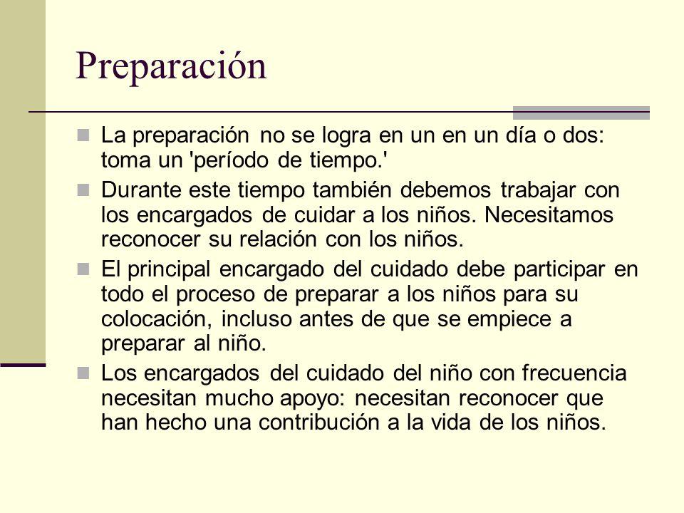 Preparación La preparación no se logra en un en un día o dos: toma un período de tiempo.