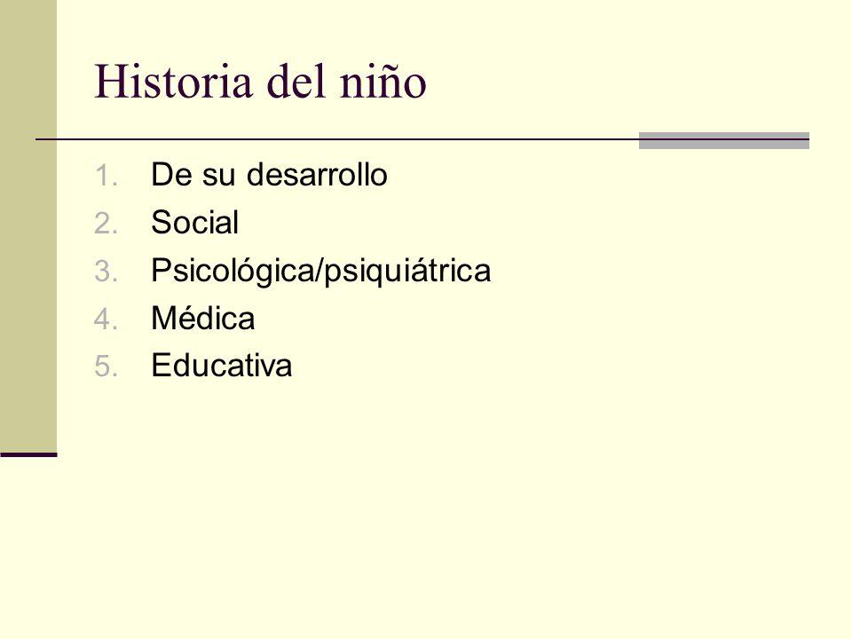Historia del niño De su desarrollo Social Psicológica/psiquiátrica