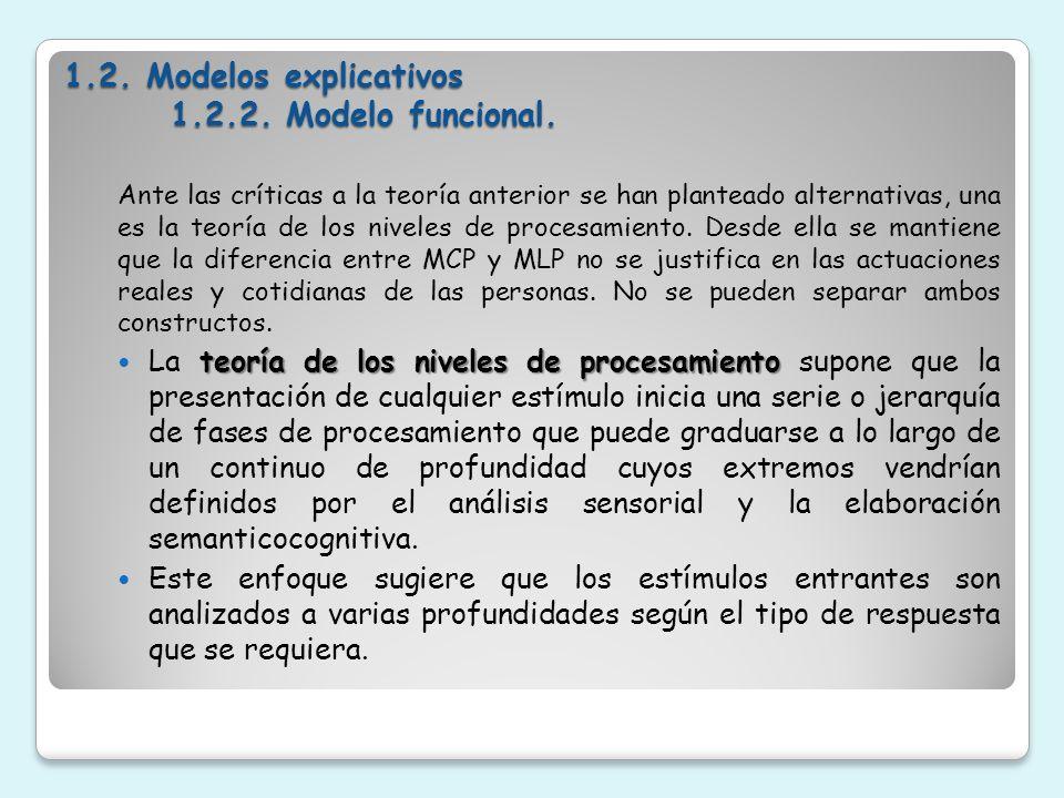 1.2. Modelos explicativos 1.2.2. Modelo funcional.