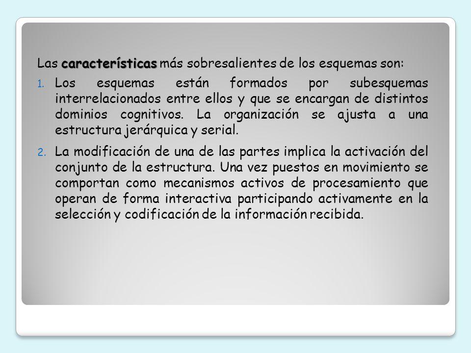 Las características más sobresalientes de los esquemas son: