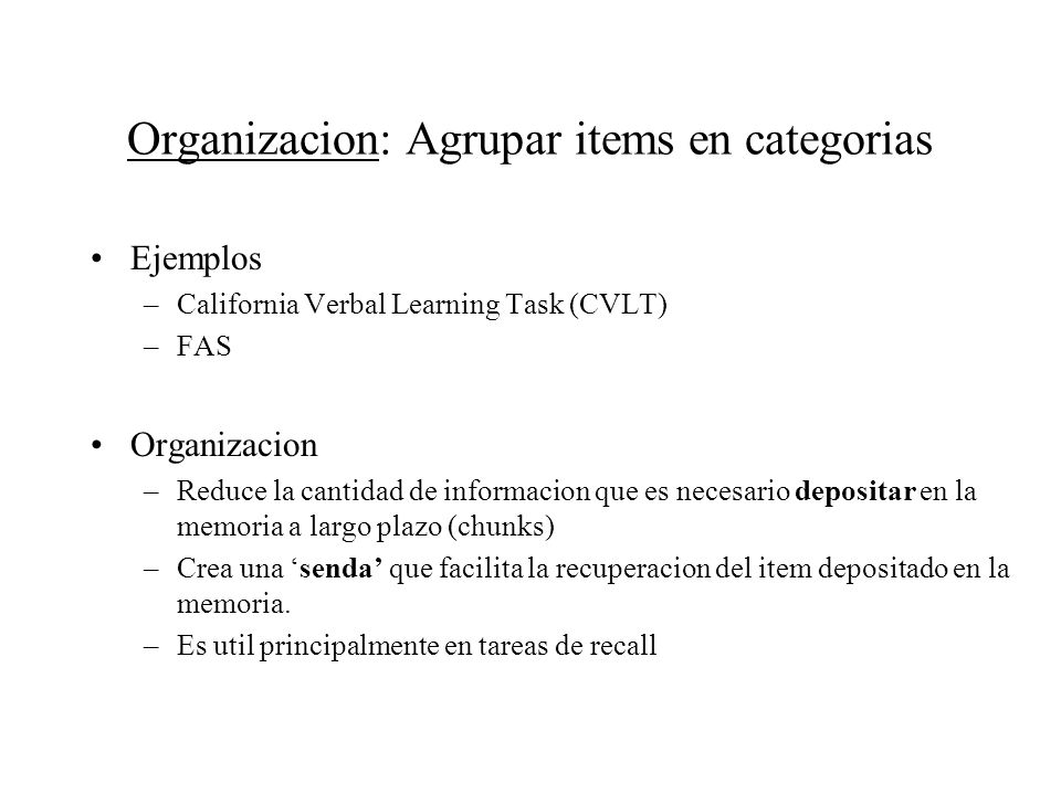 Organizacion: Agrupar items en categorias