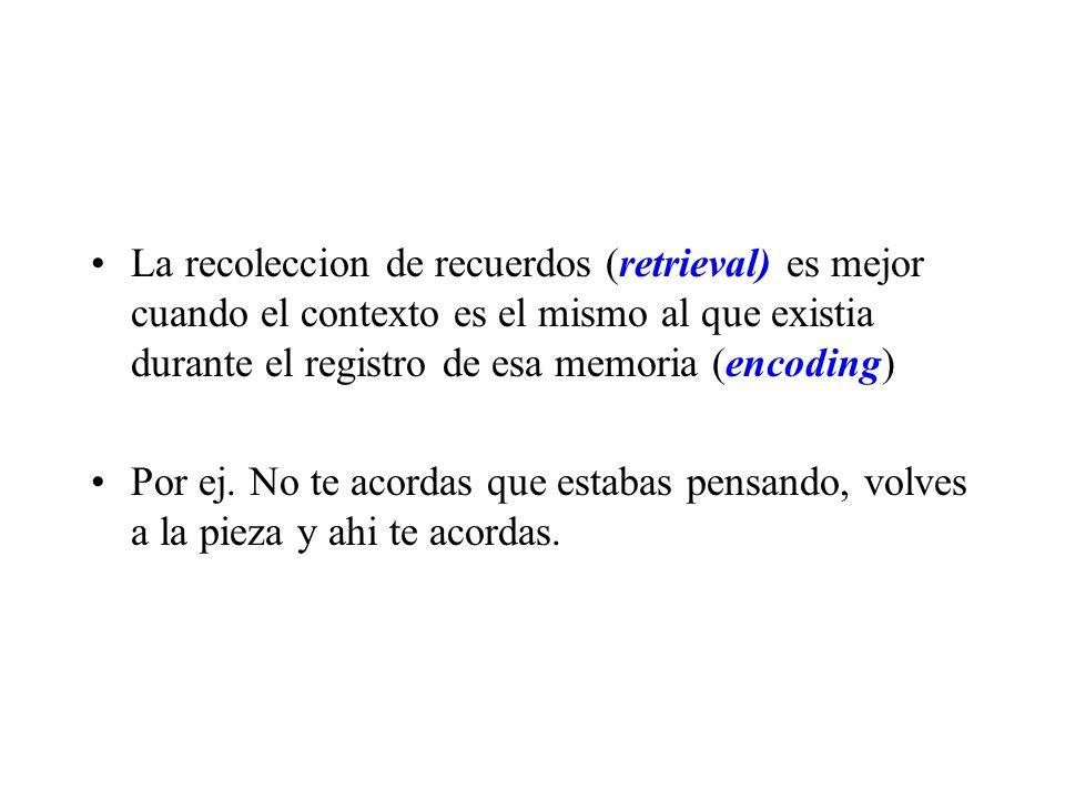 La recoleccion de recuerdos (retrieval) es mejor cuando el contexto es el mismo al que existia durante el registro de esa memoria (encoding)