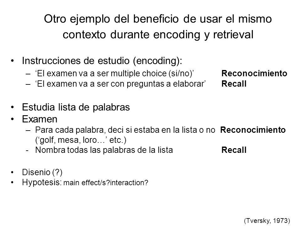 Otro ejemplo del beneficio de usar el mismo contexto durante encoding y retrieval