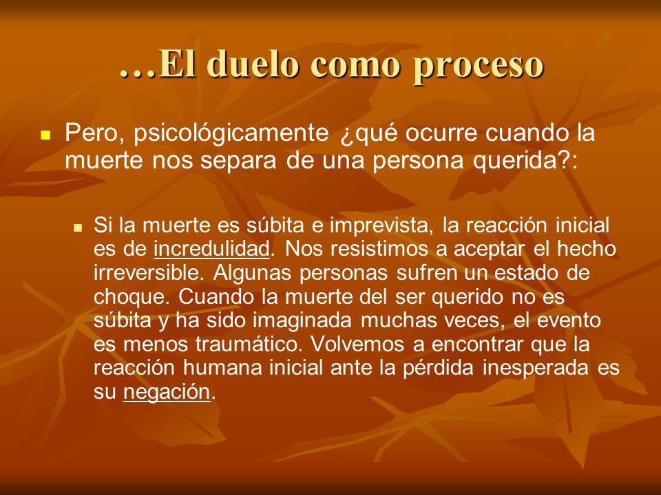 …El duelo como proceso Pero, psicológicamente ¿qué ocurre cuando la muerte nos separa de una persona querida :