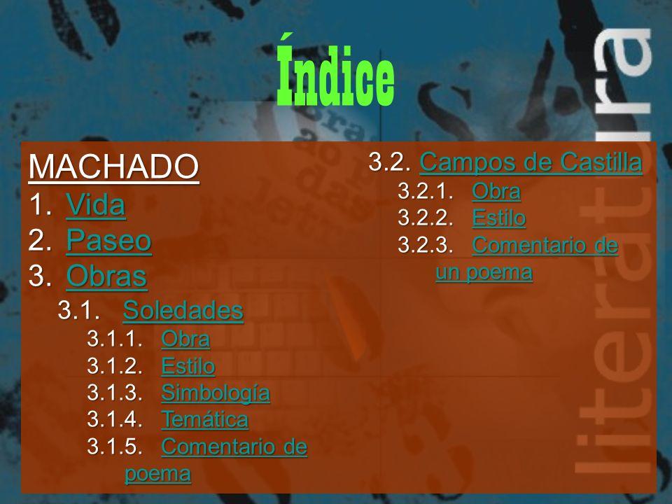 Índice MACHADO Vida Paseo Obras 3.2. Campos de Castilla 3.1. Soledades