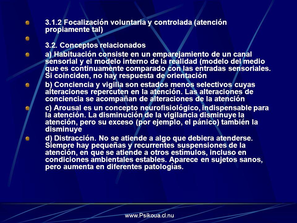 3.1.2 Focalización voluntaria y controlada (atención propiamente tal)