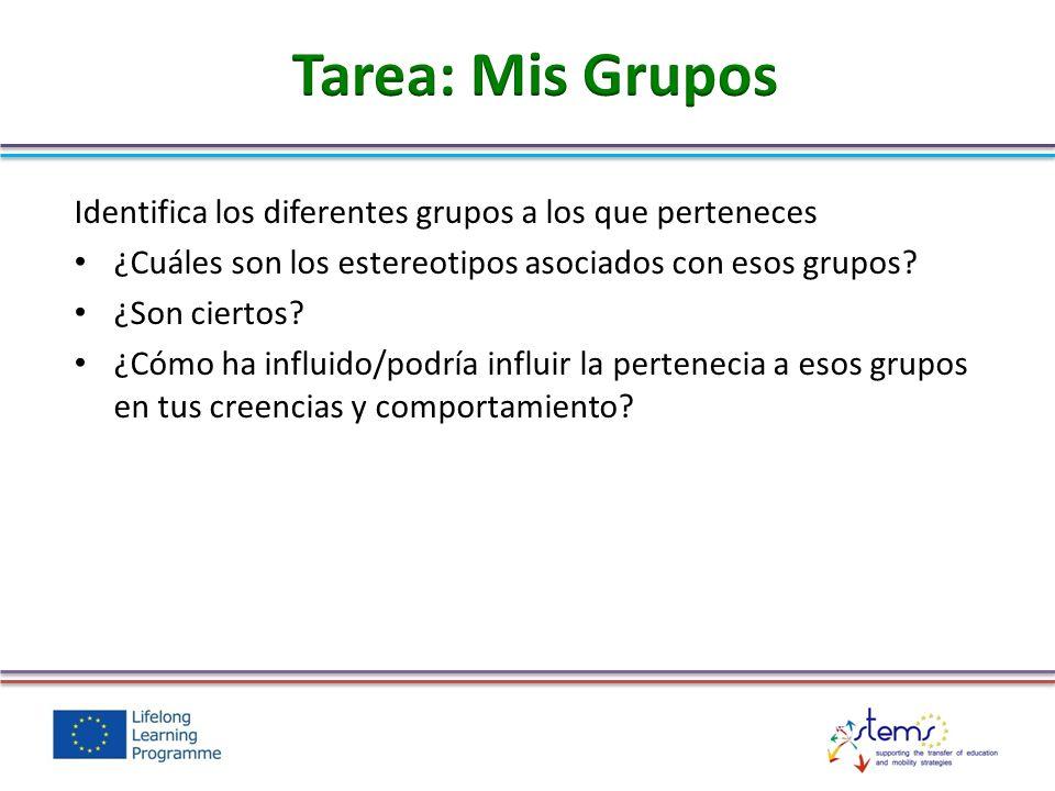Tarea: Mis Grupos Identifica los diferentes grupos a los que perteneces. ¿Cuáles son los estereotipos asociados con esos grupos