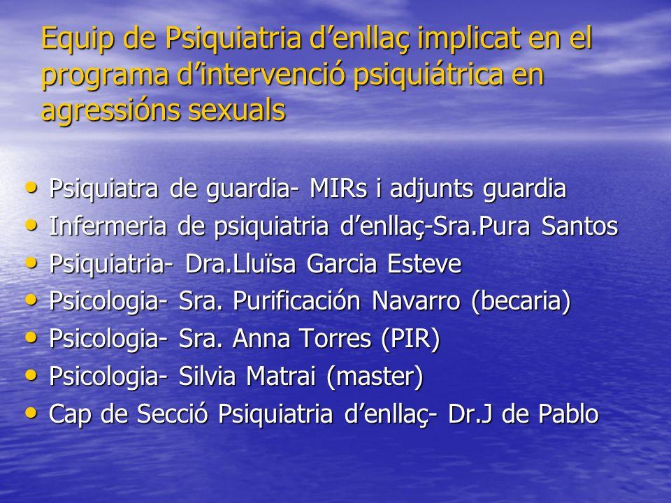 Equip de Psiquiatria d'enllaç implicat en el programa d'intervenció psiquiátrica en agressións sexuals