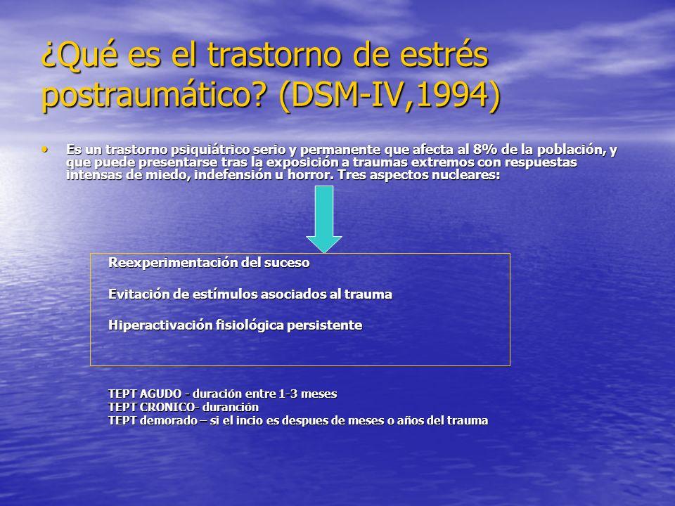 ¿Qué es el trastorno de estrés postraumático (DSM-IV,1994)