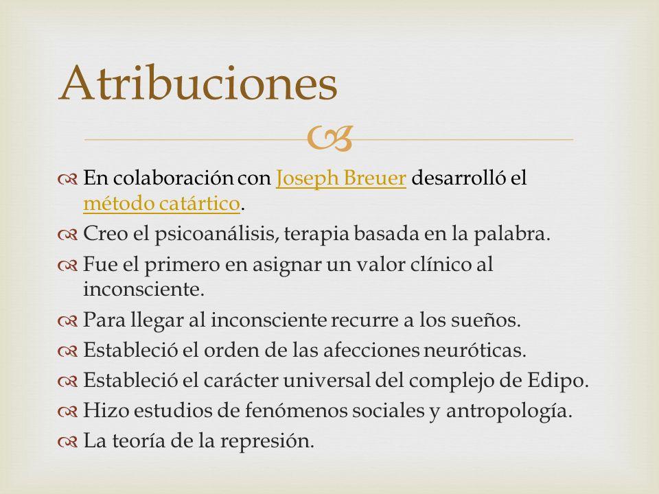 AtribucionesEn colaboración con Joseph Breuer desarrolló el método catártico. Creo el psicoanálisis, terapia basada en la palabra.