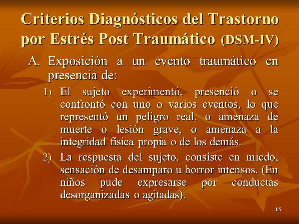 Criterios Diagnósticos del Trastorno por Estrés Post Traumático (DSM-IV)