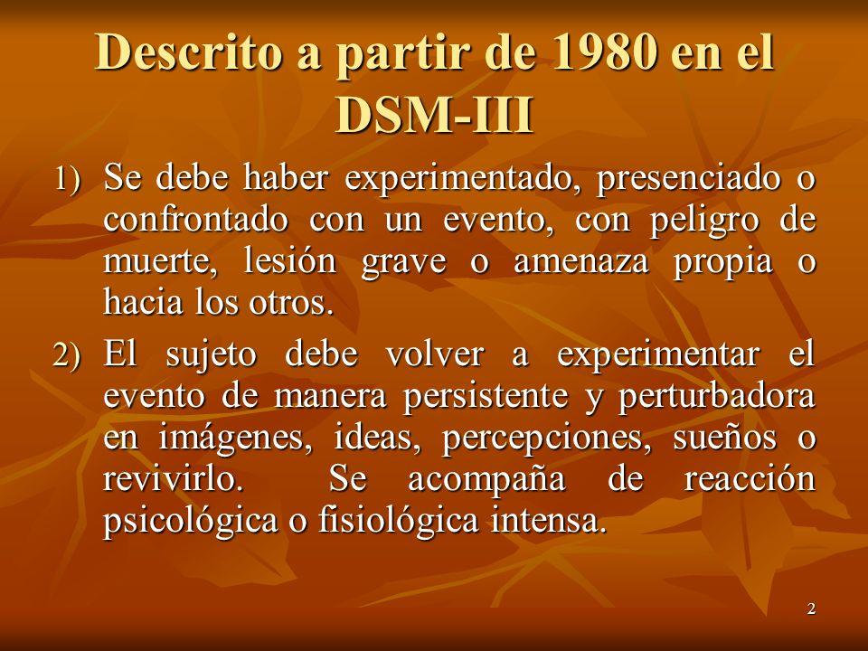 Descrito a partir de 1980 en el DSM-III
