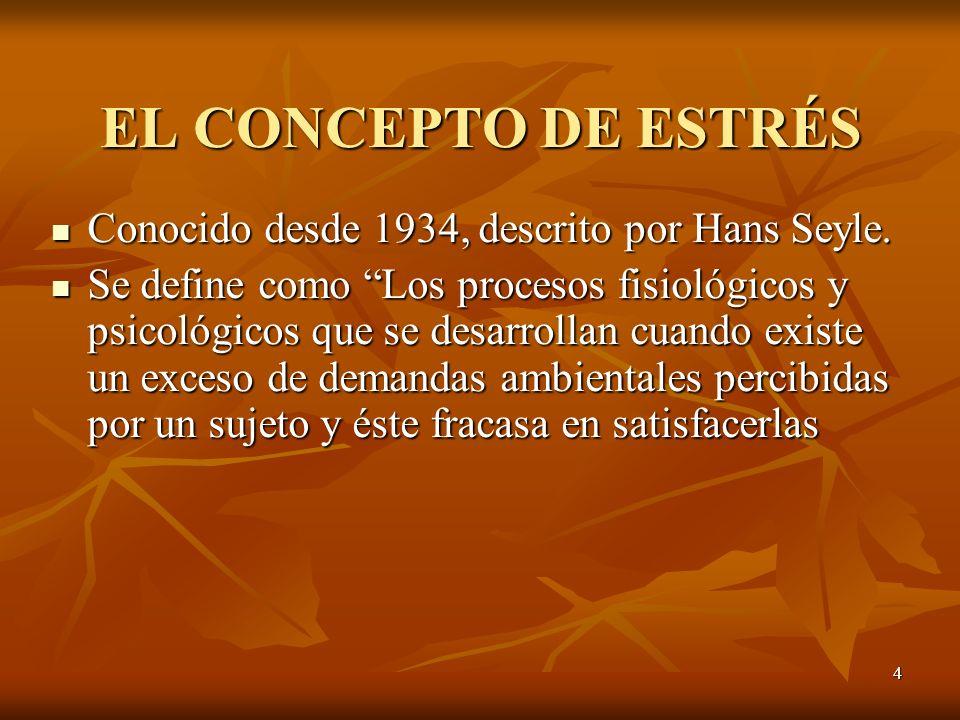 EL CONCEPTO DE ESTRÉS Conocido desde 1934, descrito por Hans Seyle.
