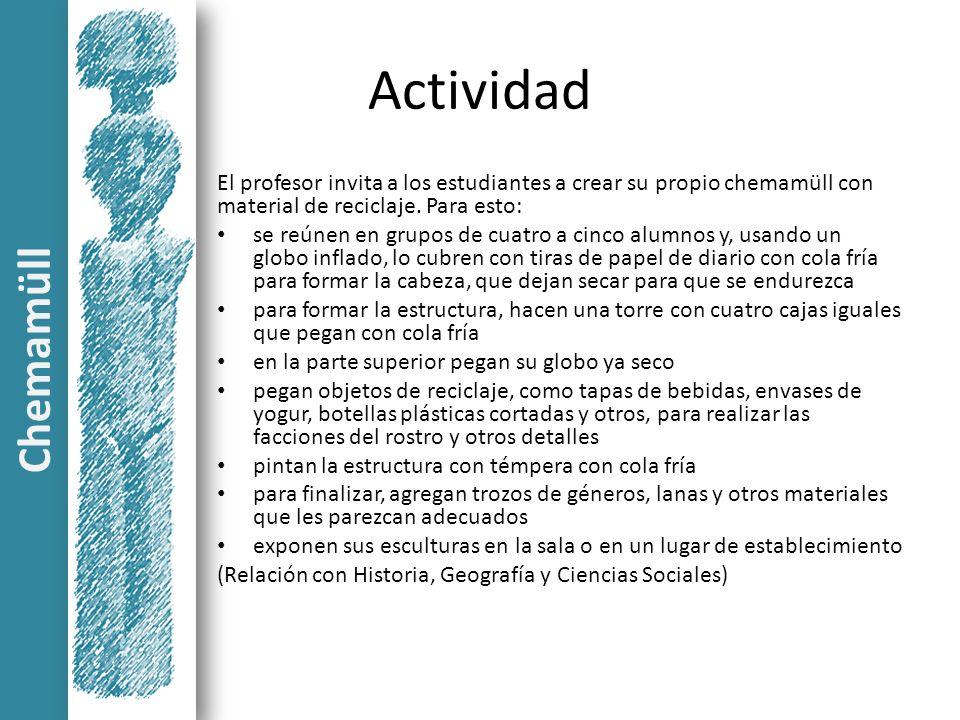 Actividad El profesor invita a los estudiantes a crear su propio chemamüll con material de reciclaje. Para esto: