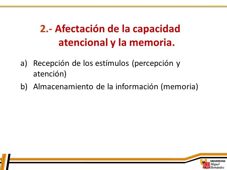 2.- Afectación de la capacidad atencional y la memoria.