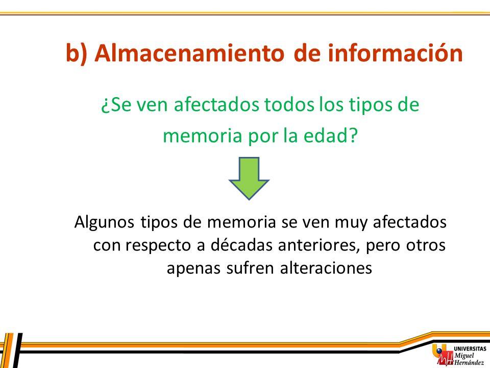 b) Almacenamiento de información