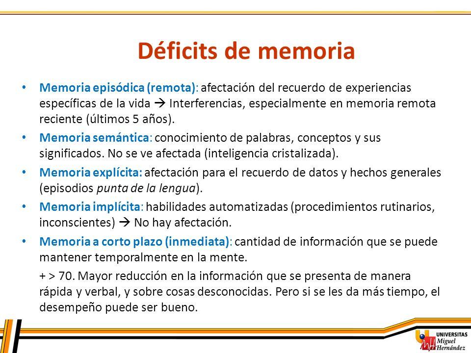 Déficits de memoria
