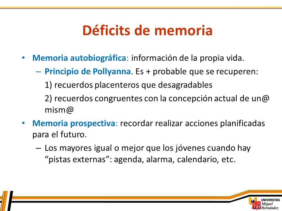 Déficits de memoria Memoria autobiográfica: información de la propia vida. Principio de Pollyanna. Es + probable que se recuperen: