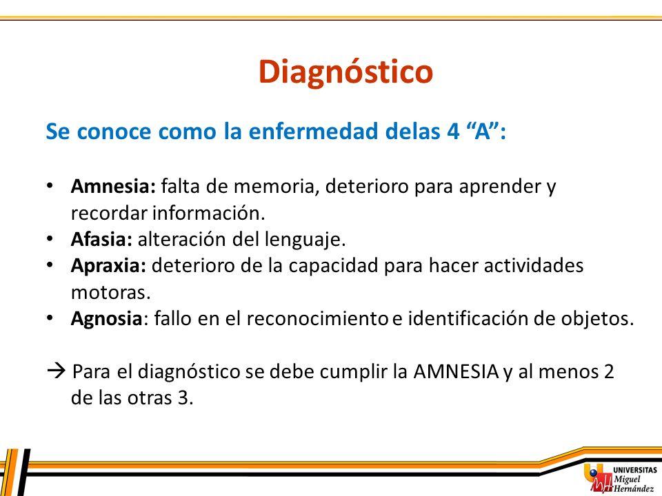 Diagnóstico Se conoce como la enfermedad delas 4 A :
