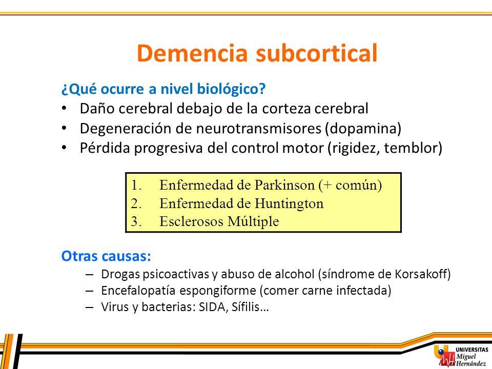Demencia subcortical ¿Qué ocurre a nivel biológico