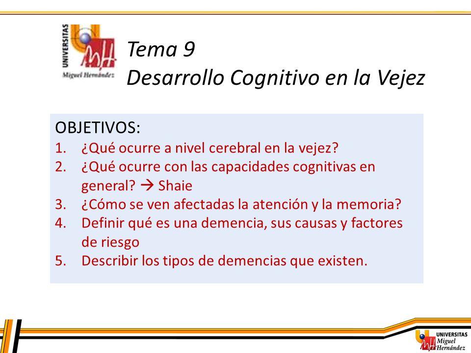 Tema 9 Desarrollo Cognitivo en la Vejez
