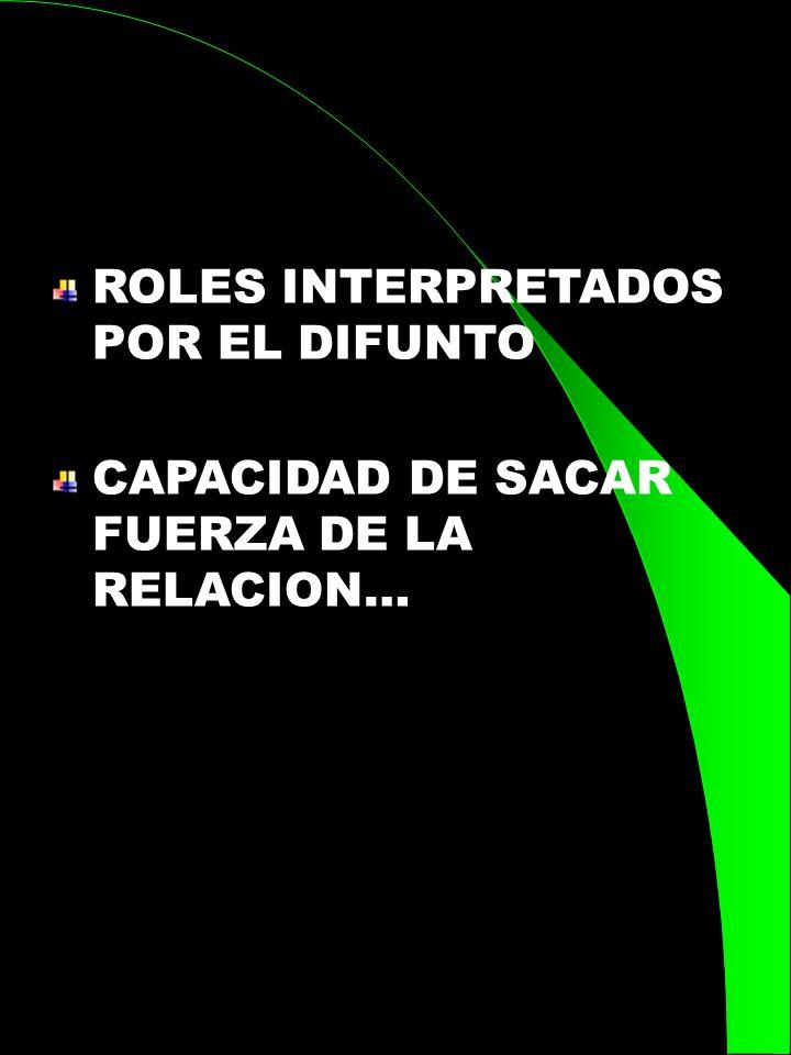 ROLES INTERPRETADOS POR EL DIFUNTO