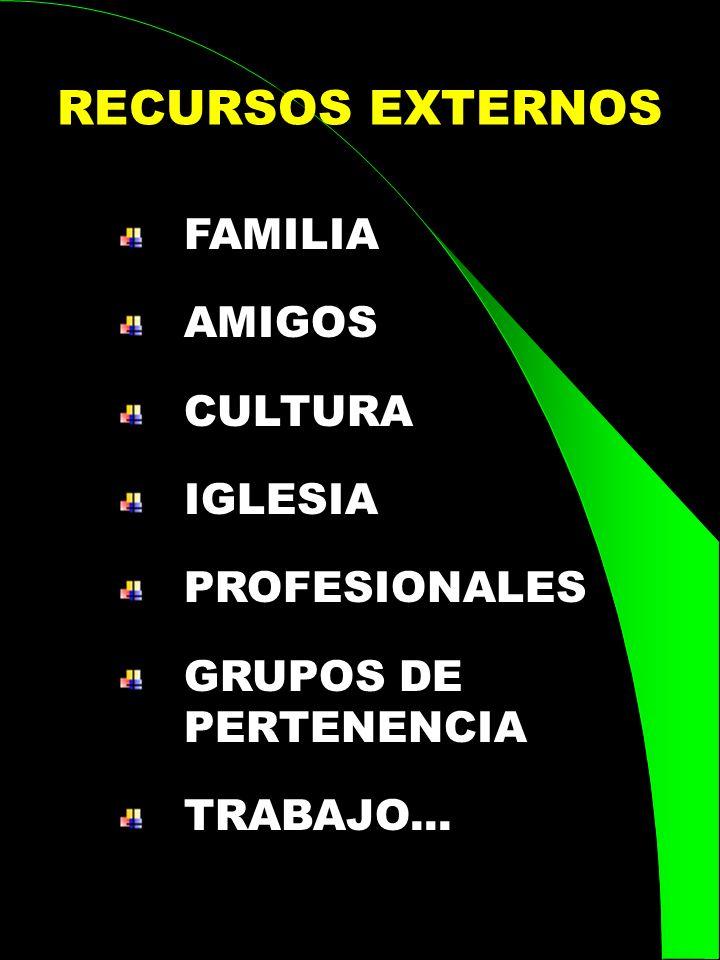 RECURSOS EXTERNOS FAMILIA AMIGOS CULTURA IGLESIA PROFESIONALES