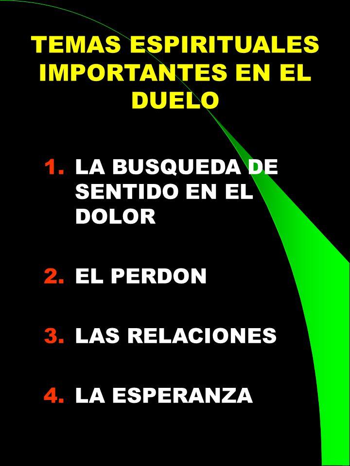 TEMAS ESPIRITUALES IMPORTANTES EN EL DUELO