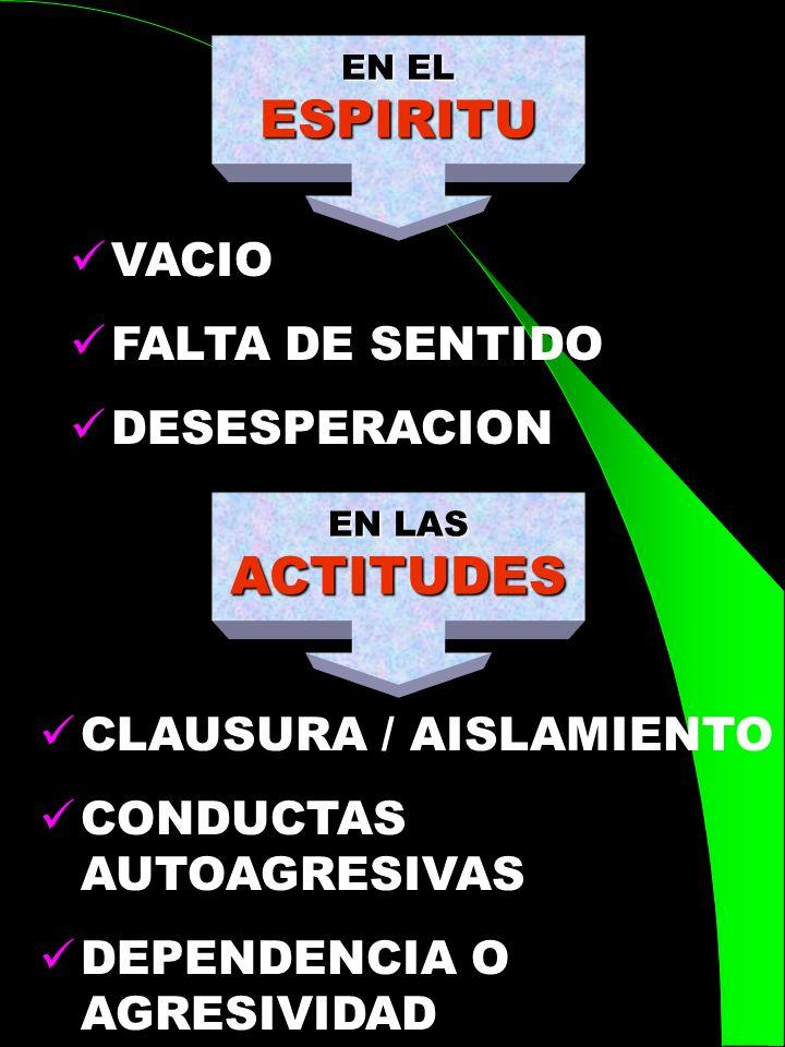 ESPIRITU ACTITUDES VACIO FALTA DE SENTIDO DESESPERACION