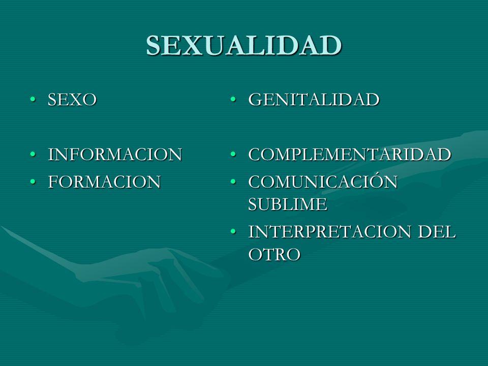 SEXUALIDAD SEXO INFORMACION FORMACION GENITALIDAD COMPLEMENTARIDAD