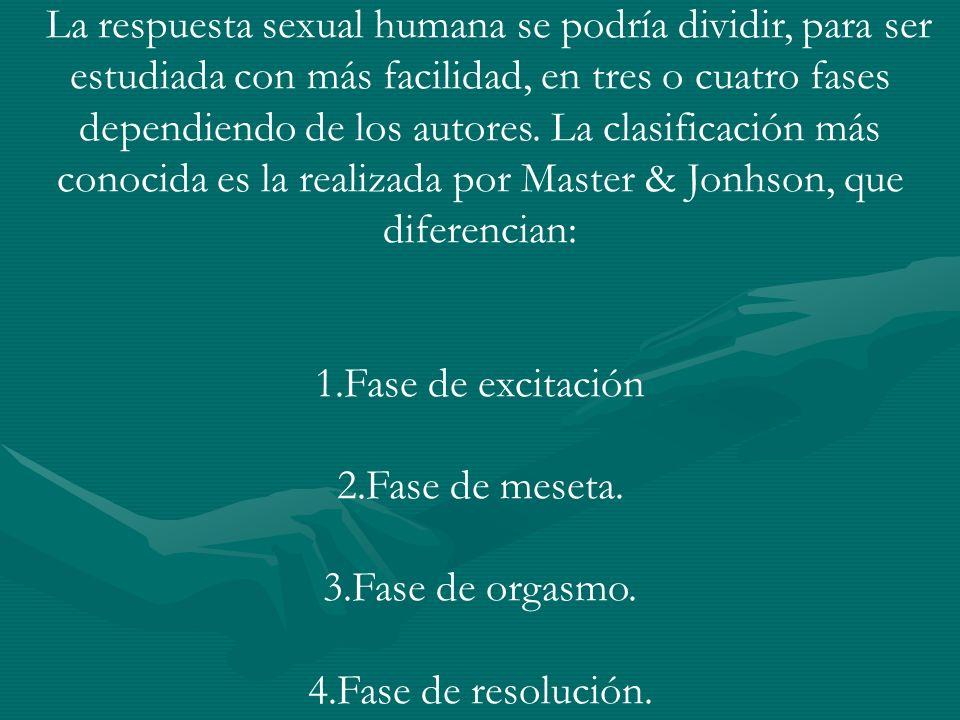 La respuesta sexual humana se podría dividir, para ser estudiada con más facilidad, en tres o cuatro fases dependiendo de los autores. La clasificación más conocida es la realizada por Master & Jonhson, que diferencian: