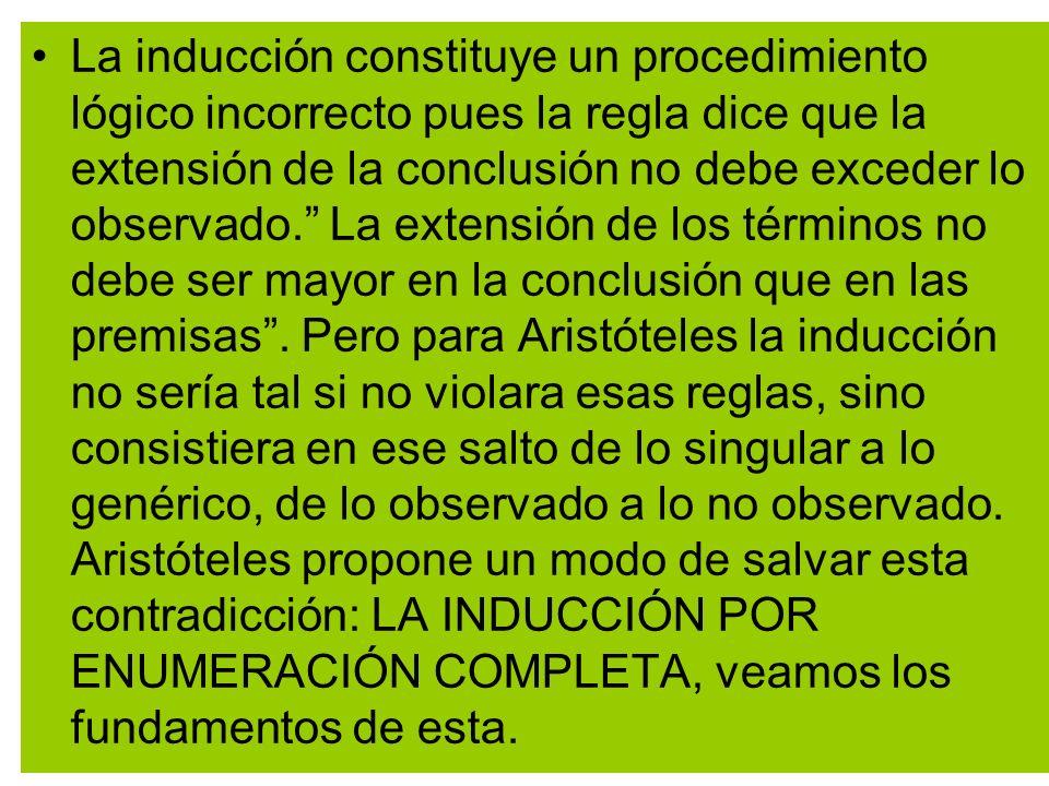 La inducción constituye un procedimiento lógico incorrecto pues la regla dice que la extensión de la conclusión no debe exceder lo observado. La extensión de los términos no debe ser mayor en la conclusión que en las premisas .