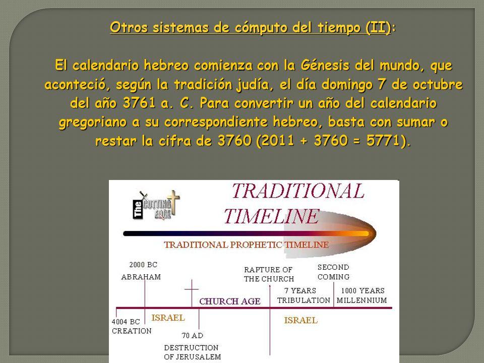 Otros sistemas de cómputo del tiempo (II):
