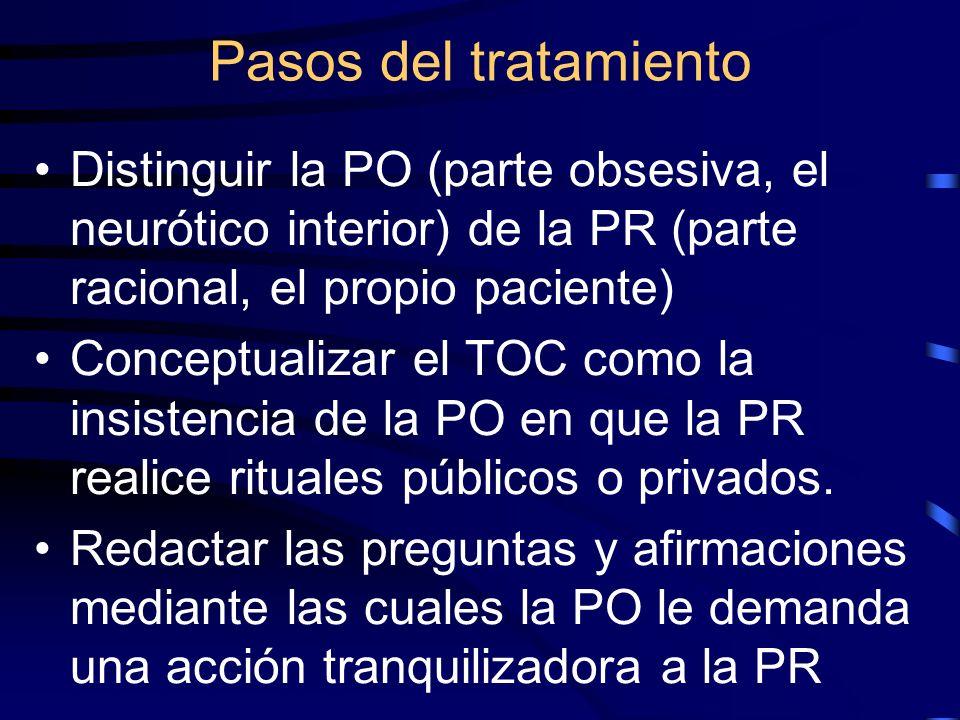 Pasos del tratamiento Distinguir la PO (parte obsesiva, el neurótico interior) de la PR (parte racional, el propio paciente)