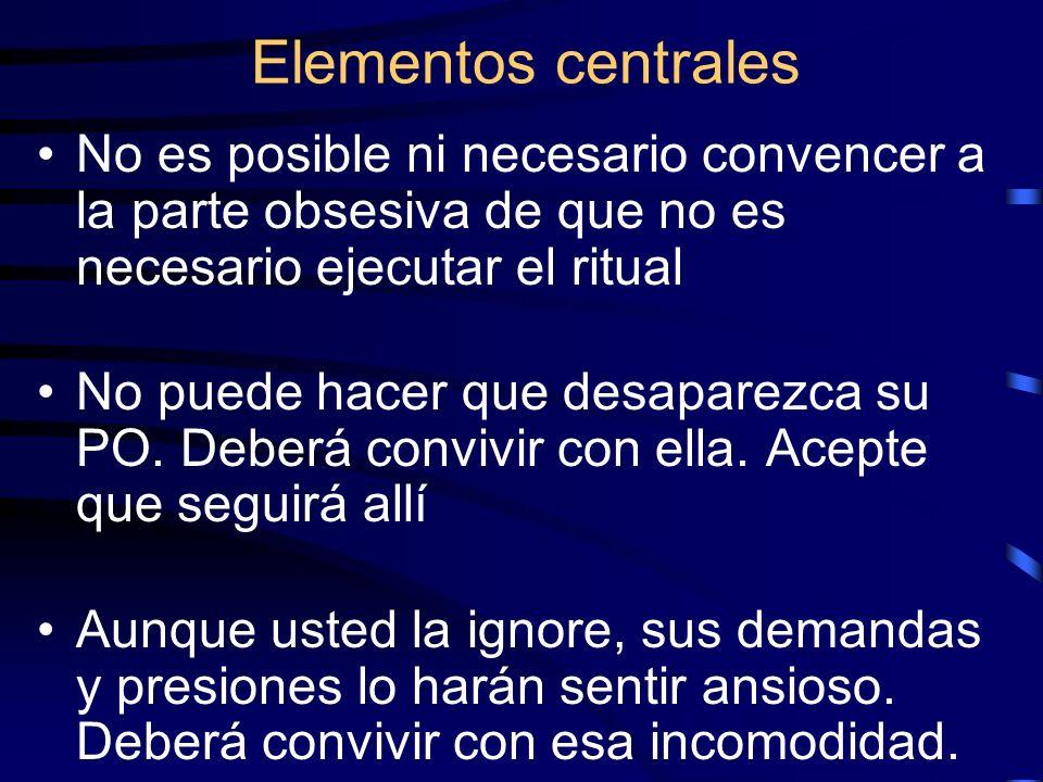 Elementos centralesNo es posible ni necesario convencer a la parte obsesiva de que no es necesario ejecutar el ritual.