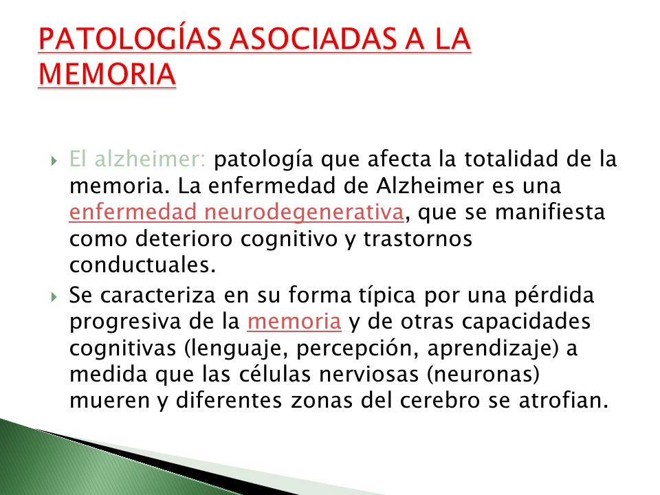 PATOLOGÍAS ASOCIADAS A LA MEMORIA