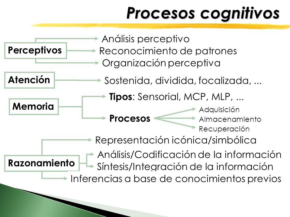 Procesos cognitivos Análisis perceptivo Perceptivos