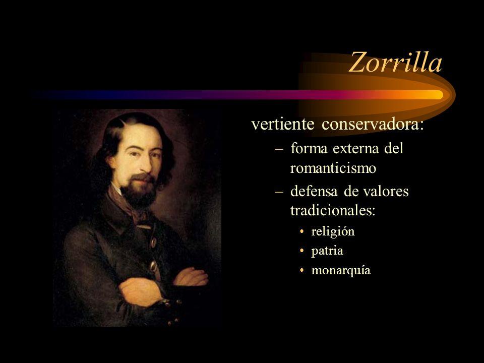 Zorrilla vertiente conservadora: forma externa del romanticismo