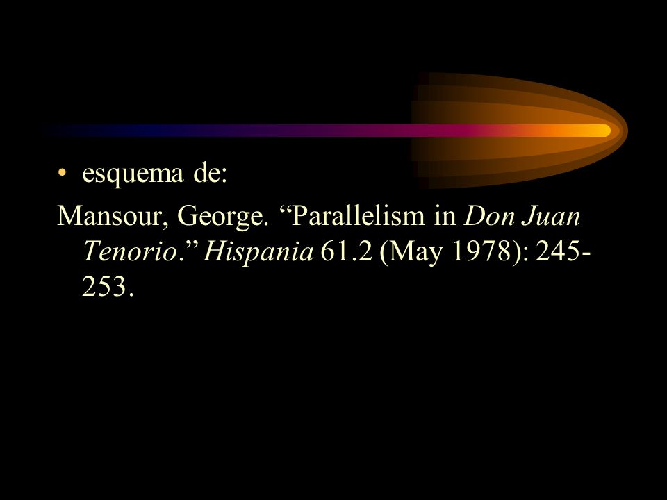 esquema de: Mansour, George. Parallelism in Don Juan Tenorio. Hispania 61.2 (May 1978): 245-253.