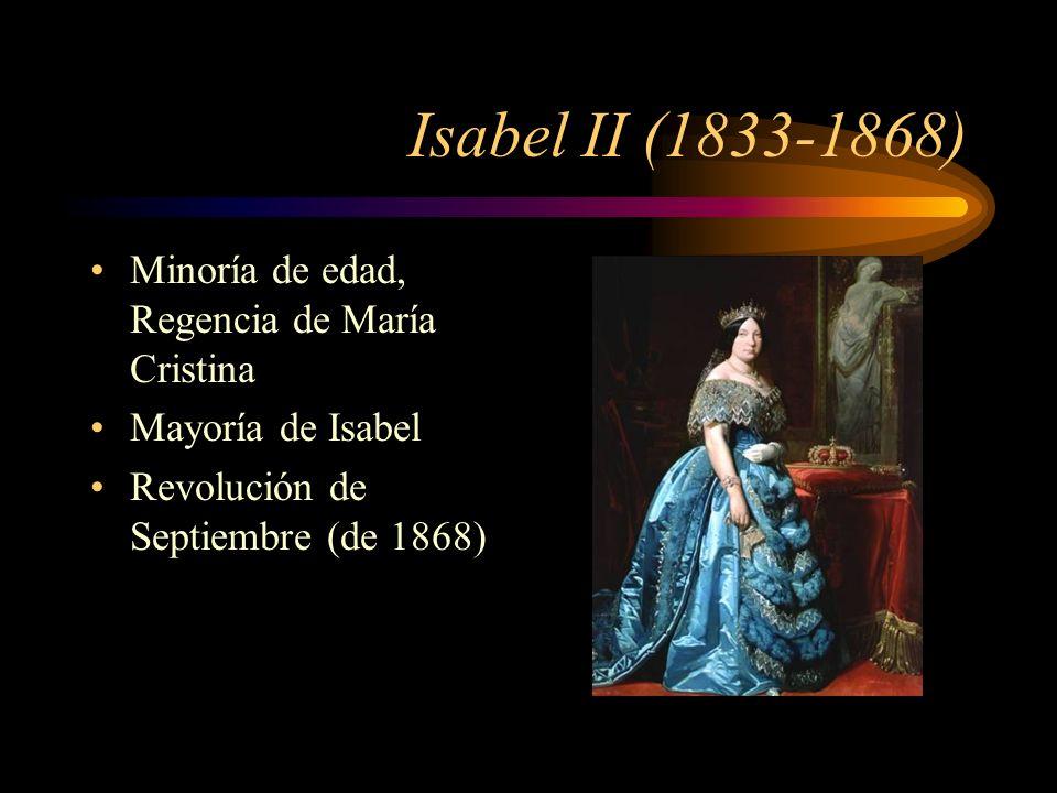 Isabel II (1833-1868) Minoría de edad, Regencia de María Cristina