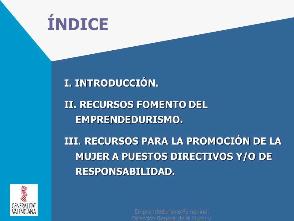 ÍNDICE I. INTRODUCCIÓN. II. RECURSOS FOMENTO DEL EMPRENDEDURISMO.