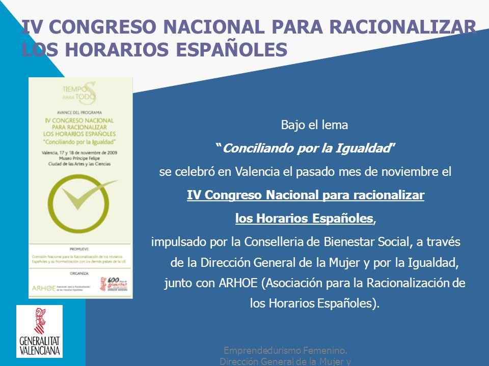 IV CONGRESO NACIONAL PARA RACIONALIZAR LOS HORARIOS ESPAÑOLES