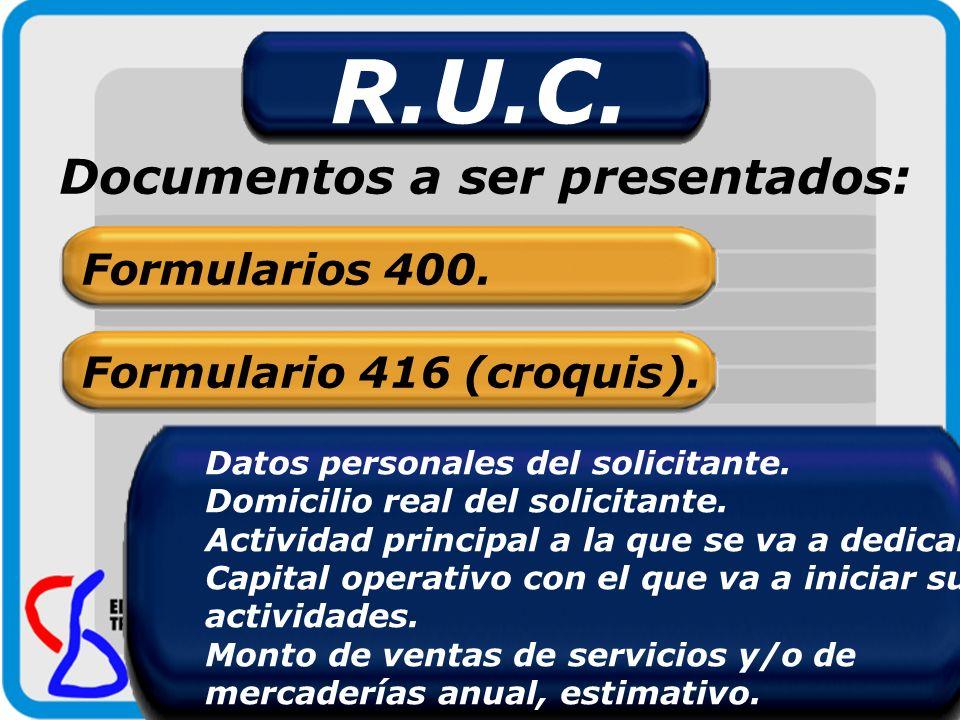 R.U.C. Documentos a ser presentados: Formularios 400.